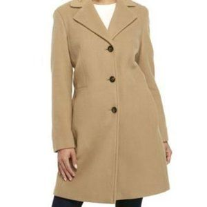 Calvin Klein Single-Breasted Wool/Cashmere Coat